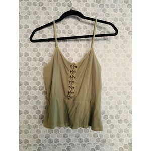 AMERICAN EAGLE • Peplum Tank with Front Tie Detail